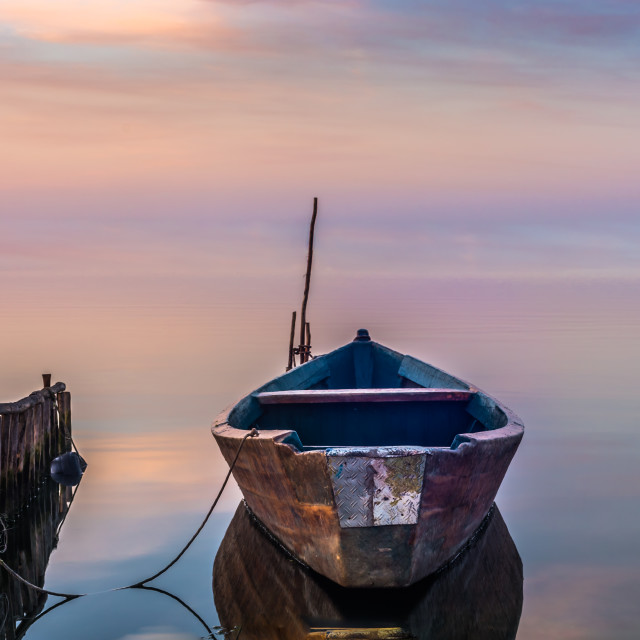 """boat sunrise III"" stock image"