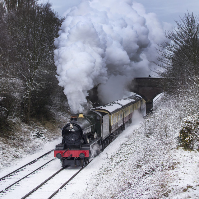 """6990'Witherslack Hall' leaving Loughborough on the Great Central Railway"" stock image"