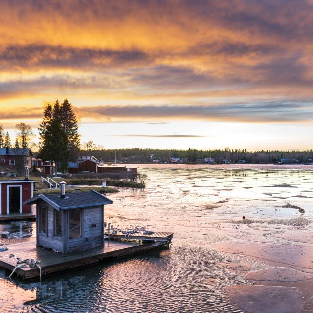 """Frozen Lake at Sunset"" stock image"