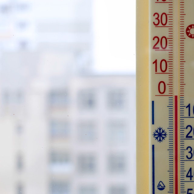 """""""Thermometer Attached to the Window"""" stock image"""