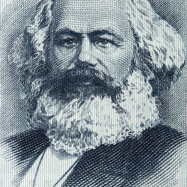 """Karl Marx portrait from old German money"" stock image"