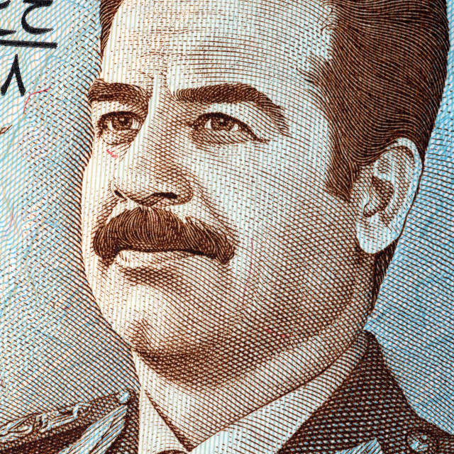 """Saddam Hussein portrait from old Iraq's money"" stock image"