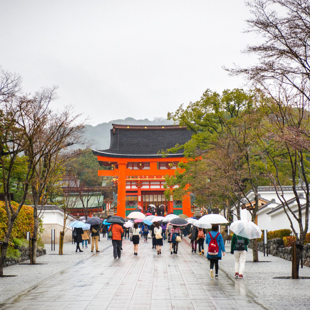 """Japan Monuments, wet umbrellas"" stock image"