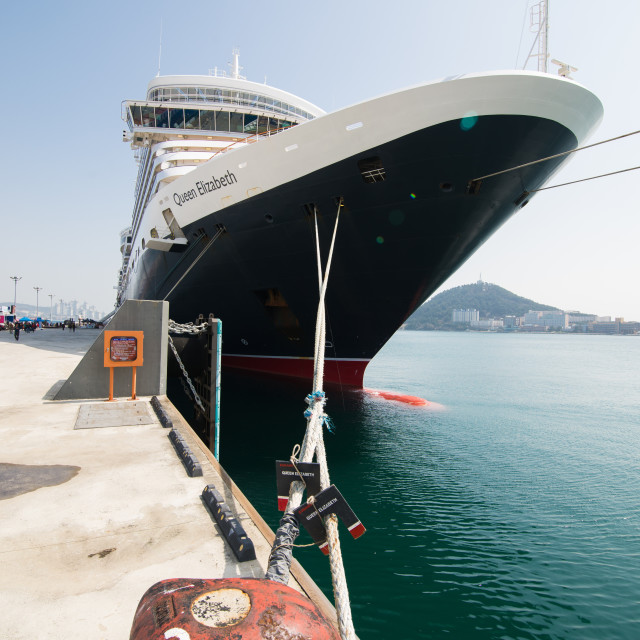 """Queen Elizabeth, Cunard, Docked"" stock image"