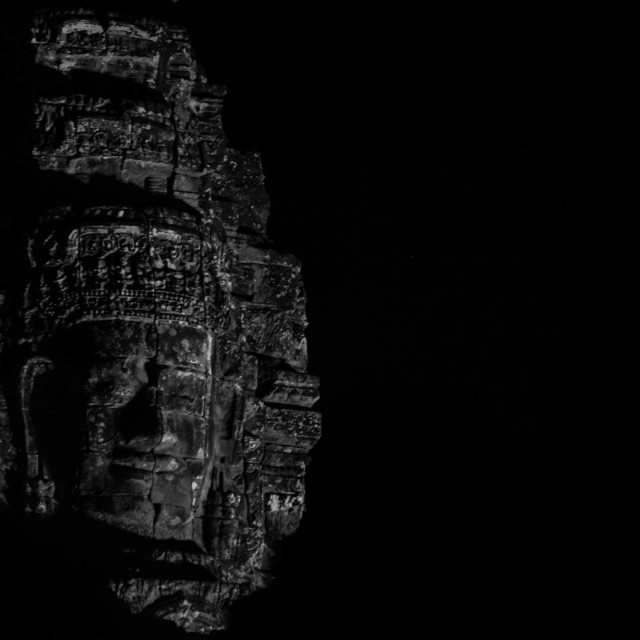 """Bayon Face at Night"" stock image"