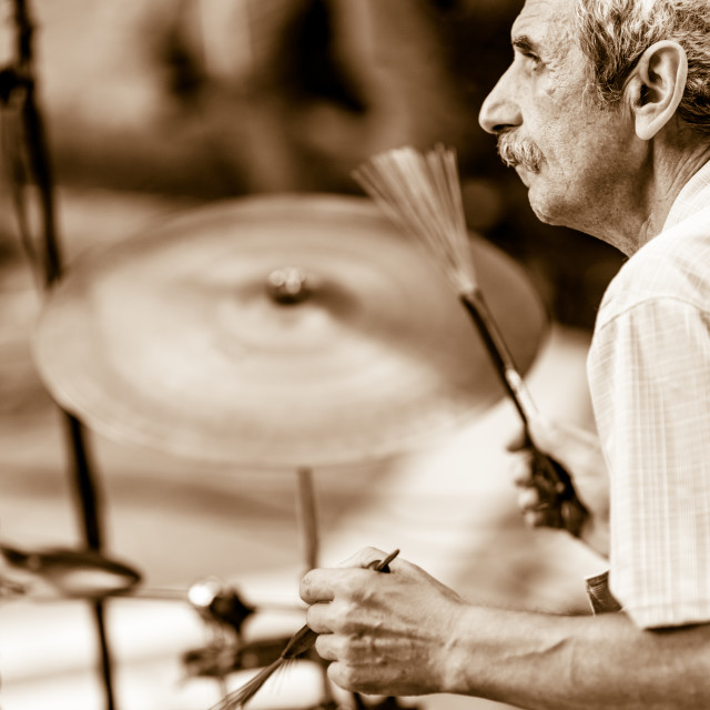 """""""Drummer is performing a jazz solo"""" stock image"""