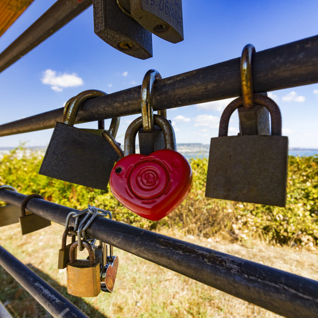 """Heart shaped padlock"" stock image"