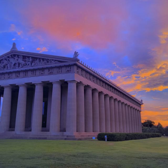 """Sunrise over Parthenon in Nashville"" stock image"