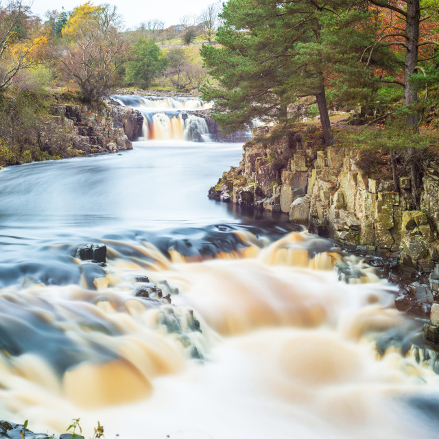 """""""Low Force waterfall in Autumn"""" stock image"""