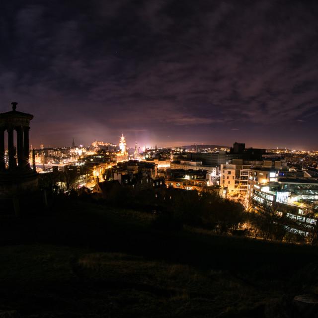 """Edinburgh Night Cityscape"" stock image"