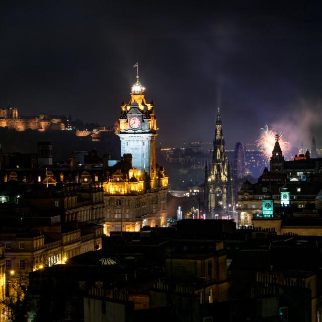 """Edinburgh City After Dark"" stock image"