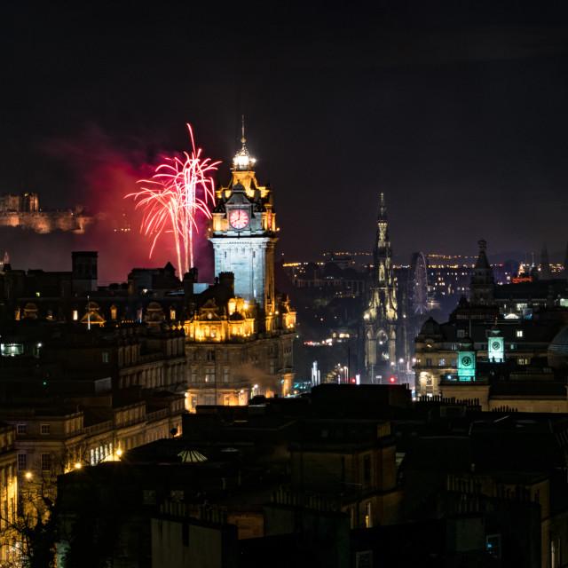 """Edinburgh Night Lights"" stock image"