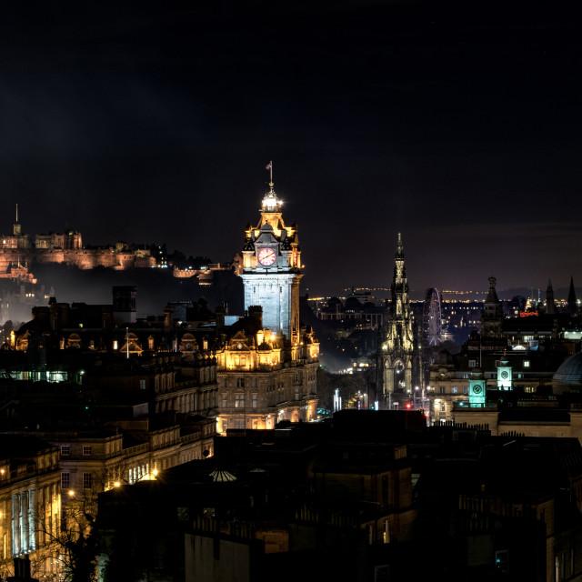 """Edinburgh landmarks at Night"" stock image"