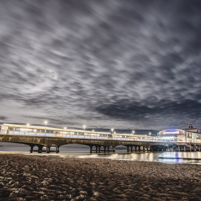 """Bournemouth Pier at night"" stock image"