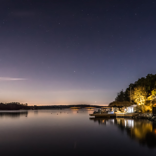"""""""Night time at the lake side"""" stock image"""