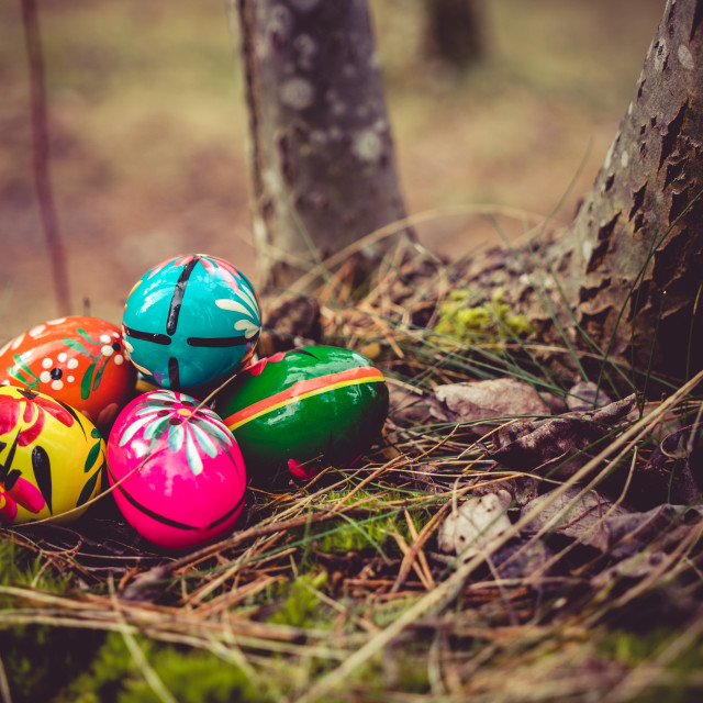 """Hand crafted Easter Eggs"" stock image"