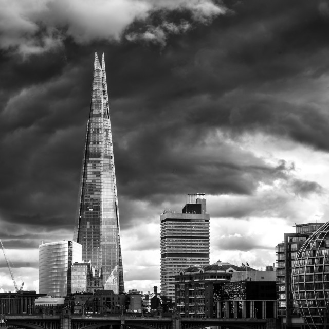 """dramatic clouds over the shard"" stock image"