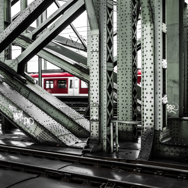 """Train in a bridge in Koln Germany"" stock image"