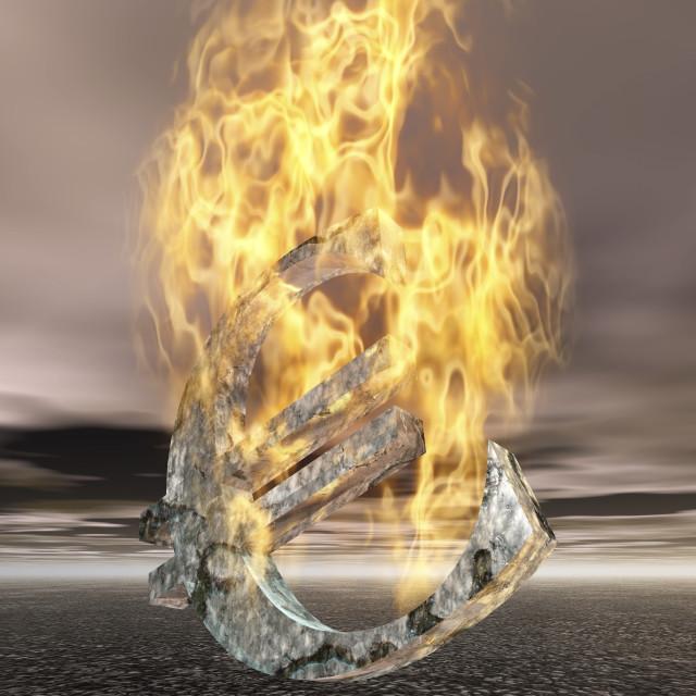 """""""Burning Euro Sign"""" stock image"""