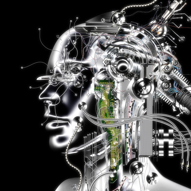 """""""3D Illustration; 3D Rendering of a Cyborg"""" stock image"""