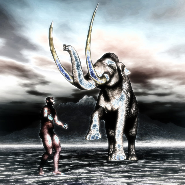 """3D Illustration; 3D Rendering of a Mammoth with prehistoric man"" stock image"
