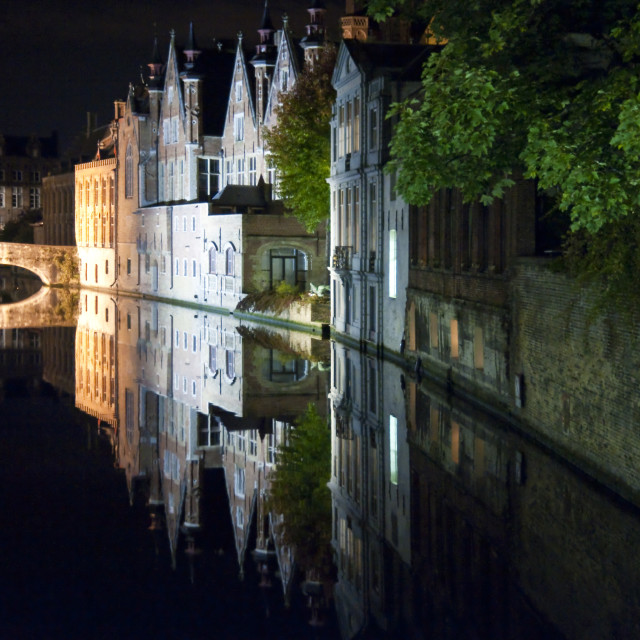 """""""bruges by night"""" stock image"""