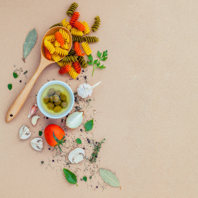 """""""Italian food concept pasta with vegetables olive oil flavored with spices..."""" stock image"""