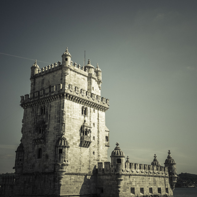 """Torre of Belem at sunset, famouse landmark of Lisbon, Portugal,"" stock image"