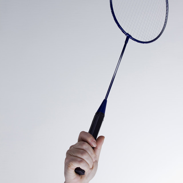 """""""Female hand with a badminton racket"""" stock image"""
