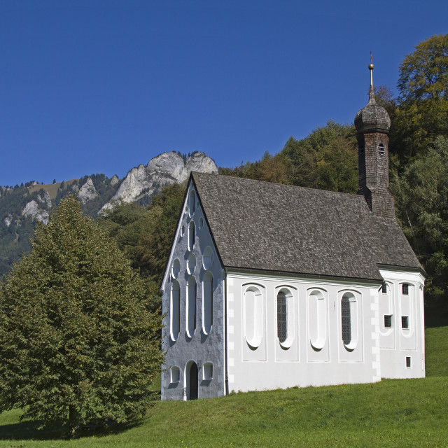 """Chapel Holy Cross in Windhausen"" stock image"