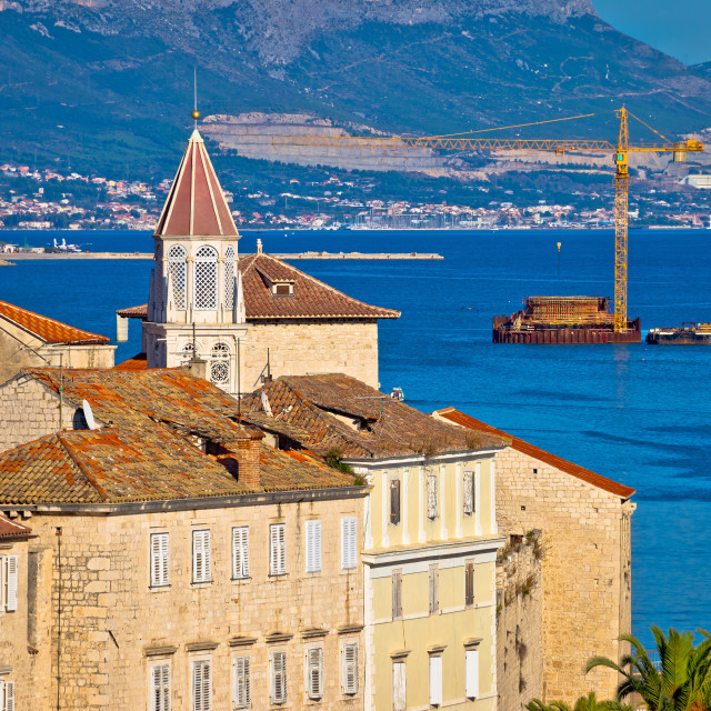"""UNESCO town of Trogir waterfront and architecture view"" stock image"
