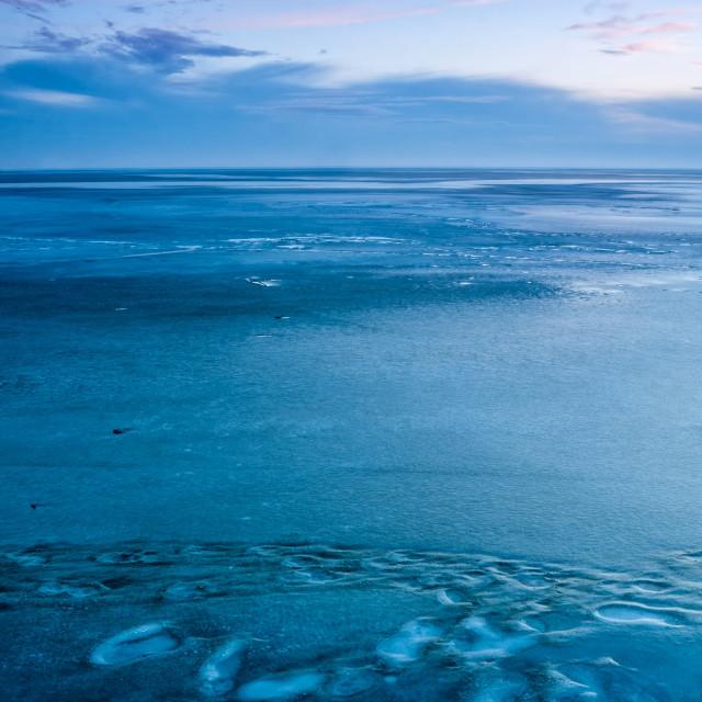 """Blue winter landscape over the lake Balaton of Hungary"" stock image"