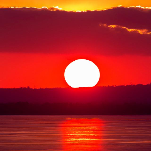 """""""Beautiful sunset light on winter lake Balaton (Hungary)"""" stock image"""
