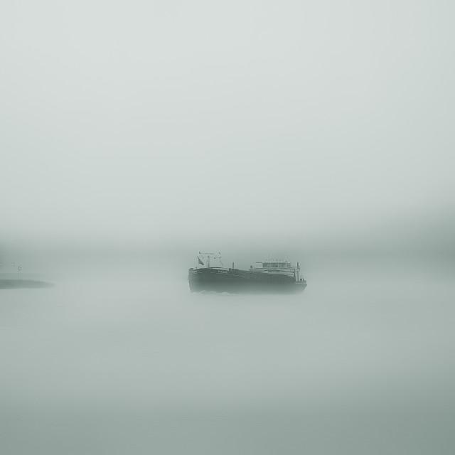 """Ship in the fog"" stock image"