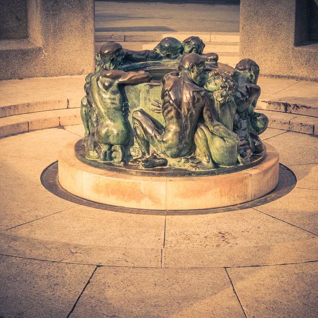 """""""Well of Life, sculpture made by famous Croatian sculpture Ivan M"""" stock image"""