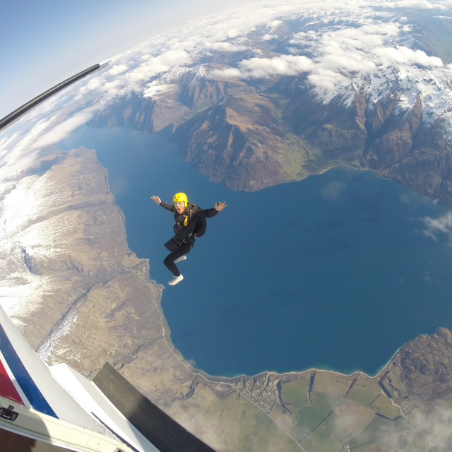 """Skydiving over Queenstown New Zealand"" stock image"