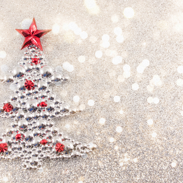 """""""Christmas tree decoration with silver glitter background"""" stock image"""