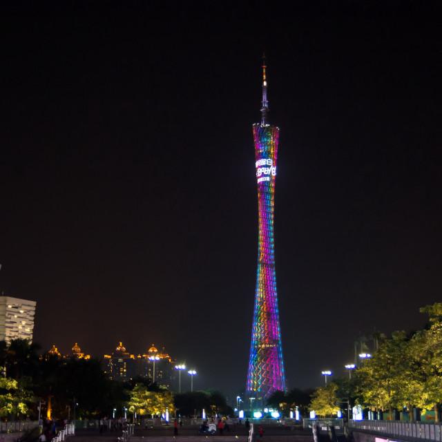 """Guangzhou Canton tower, night view."" stock image"