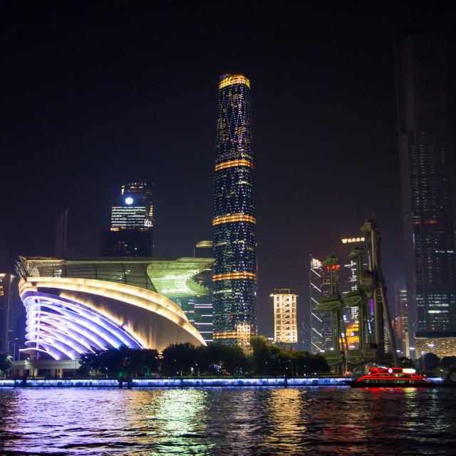 """Night view of Guangzhou city waterline cityscape, Guangdong province, China"" stock image"