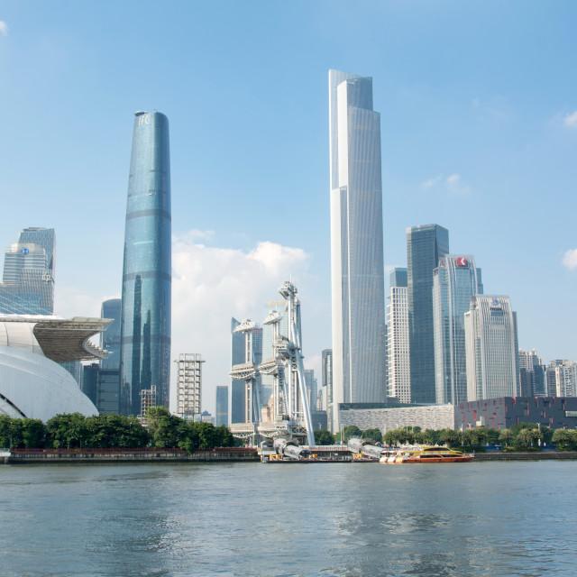 """""""Guangzhou city waterline cityscape, Guangdong province, China"""" stock image"""