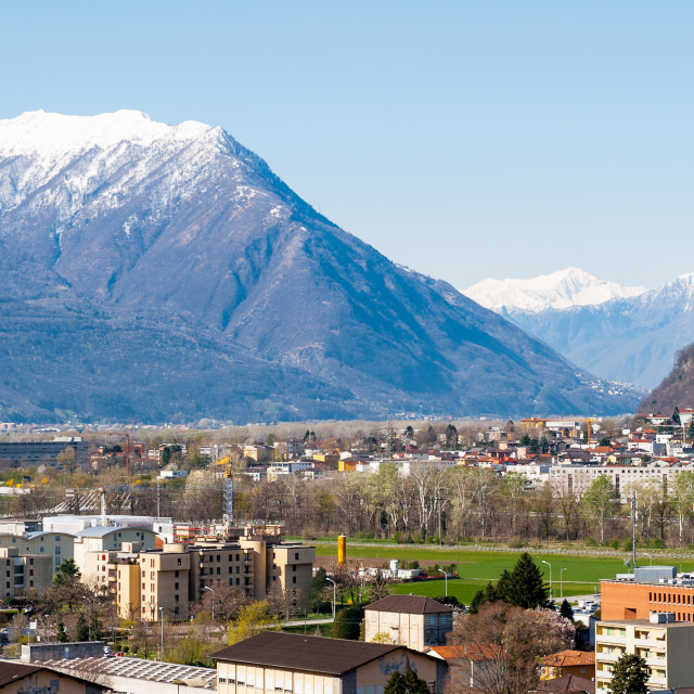 """Panorama of Bellinzona, Switzerland and the Swiss Alps"" stock image"