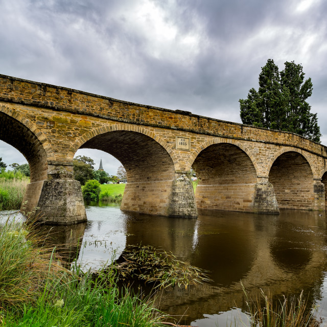 """Oldest Bridge in Australia with Church Steeple in the Arch"" stock image"