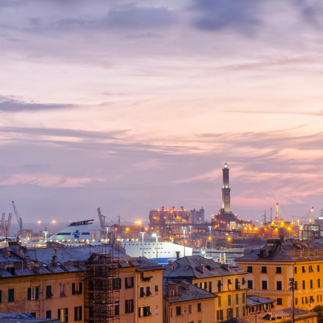 """City Lights Of Genoa"" stock image"