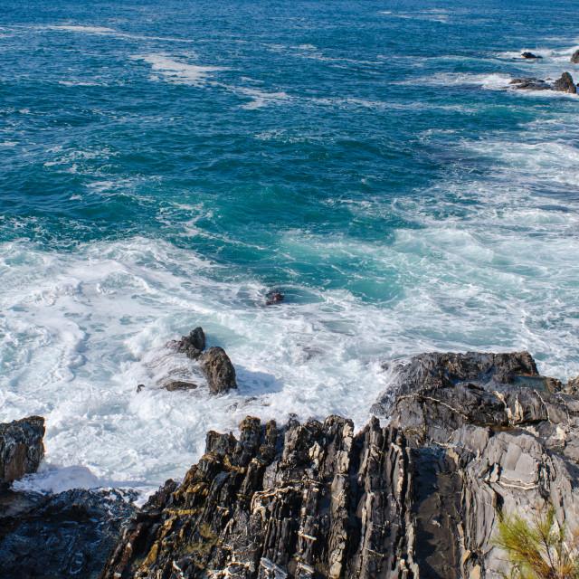 """Mediterranean Water And Genoese Stone"" stock image"