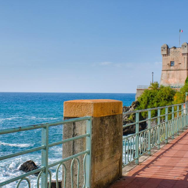 """""""Seaside promenade in Genoa Nervi"""" stock image"""