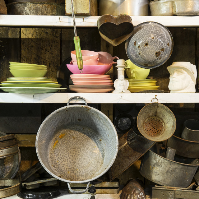 """""""Used kitchen wares sale at thrift shop"""" stock image"""