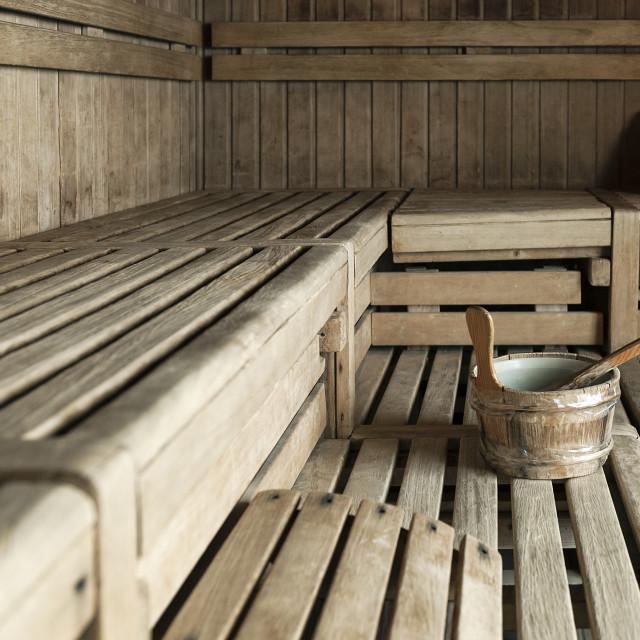 """Wooden dry heat spa sauna"" stock image"