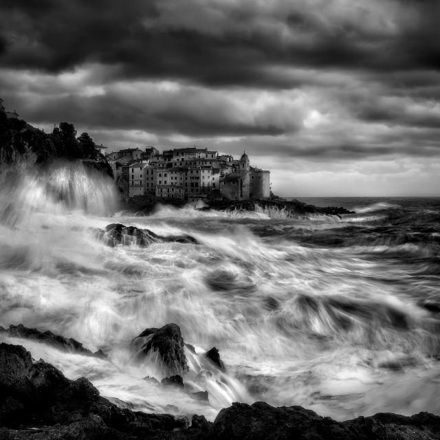 """Sea storm in Tellaro."" stock image"