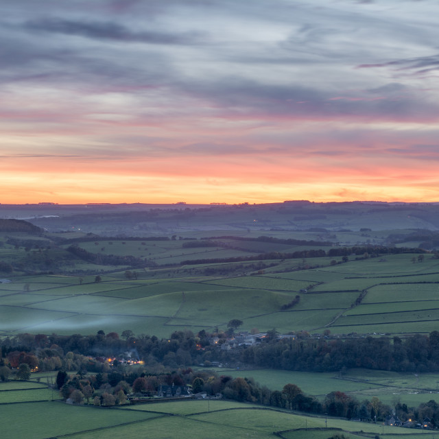 """Sunset over Baslow"" stock image"