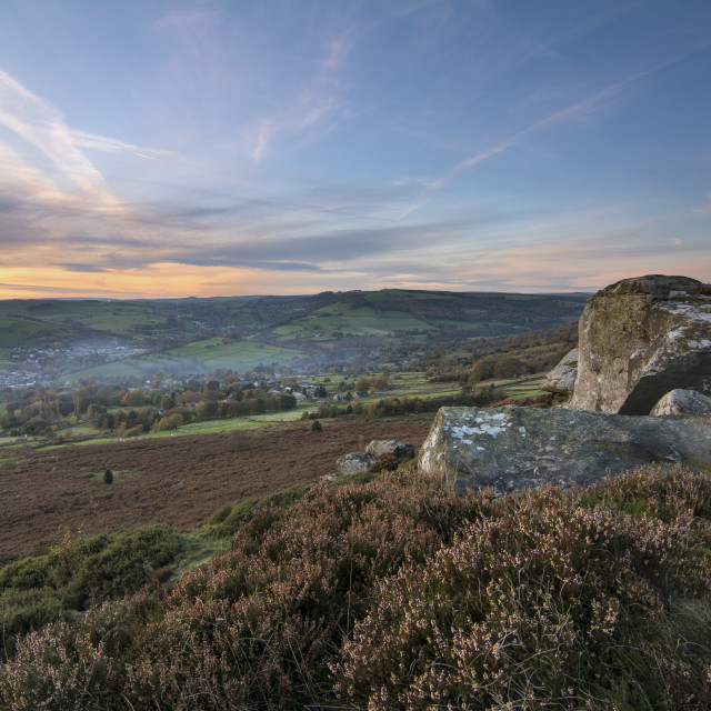 """Baslow Edge Sunset"" stock image"